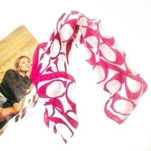 Coach Pink Silk Monogram Square Scarf